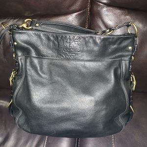 Coach black leather tote bag